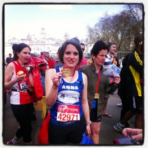 Anna, triumphant after her first London Marathon