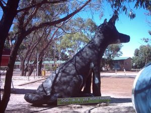 Statue to acknowledge the world record convoy of 1527 utes with dogs, Corrigin WA