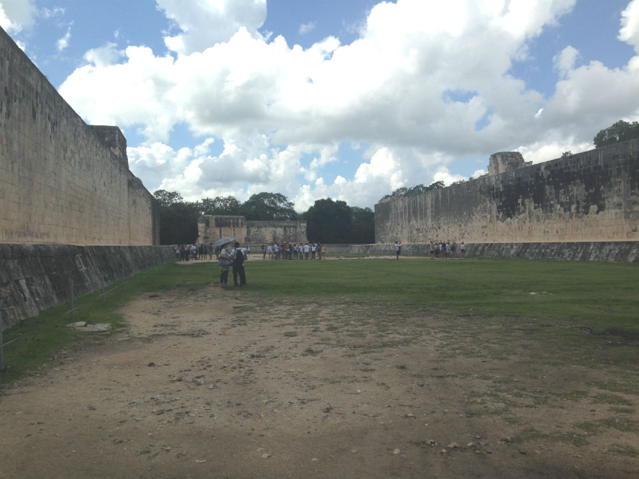 the Great Ball Court is the largest and best preserved ball court in ancient Mesoamerica, measuring 168 by 70 metres